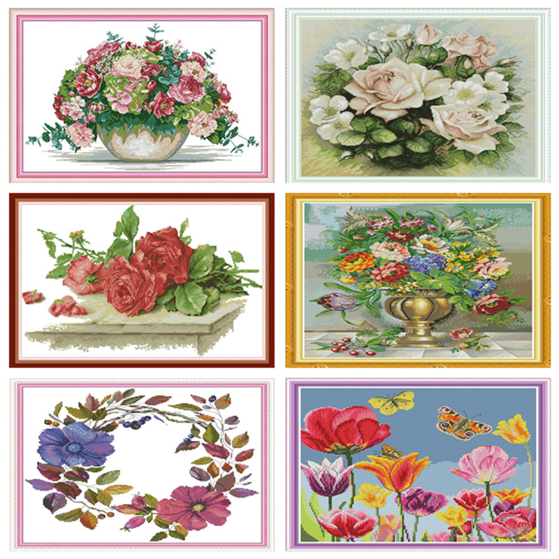 Cross Stitch Patterns Water Soluble Canvas Cross Stitch Flowers Kits Embroidery Needlework Sets Cross-Stitch Tambour Broderie