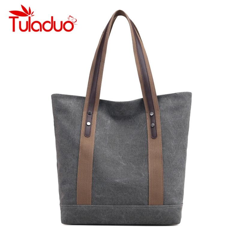 Canvas Bag Vintage Canvas Shoulder Bag Handbags Ladies Hand Bag Tote Bolsos Mujer Hobos Bolsas Feminina 2019