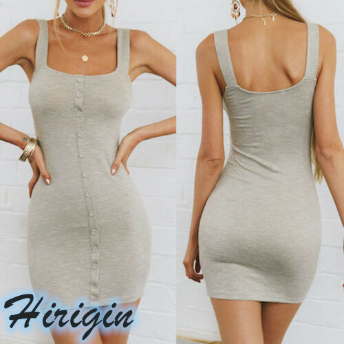 Summer Dresses Womens Solid Casual Mini Short Dress Sleeveless Backless Skinny Cotton Button