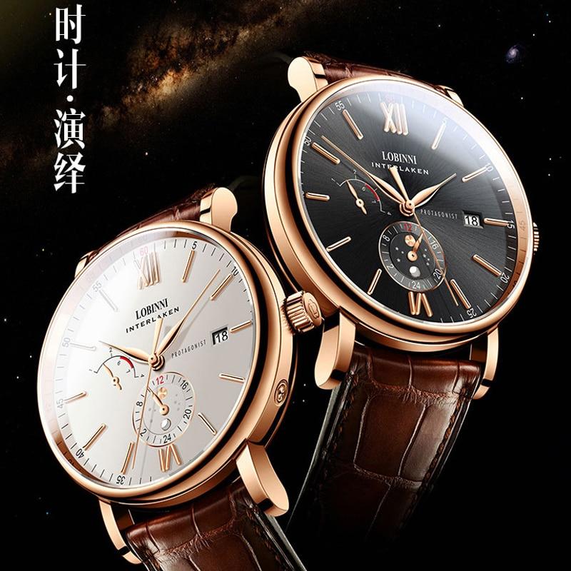LOBINNI Switzerland Luxury Brand Men Watches Automatic Mechanical Movement Men's Clock Sapphire Genuine Leather relogio L6860-4