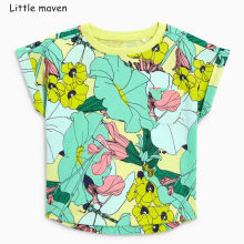 7cd6b4114 Little maven children clothes 2019 summer new baby girls clothes tee tops  Hand painted flower print Cotton brand t shirt 51275