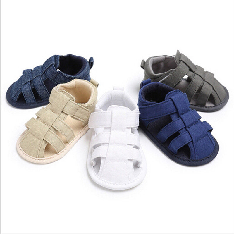 Summer Newborn Kids Baby Sandals Cute Infant Boys Canvas Soft Sole Crib Clogs Sneakers Little Baby Hollow Out Sandals Shoes