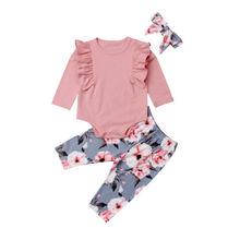 От 0 до 4 лет, хлопковое боди с длинными рукавами для новорожденных девочек, топы, длинные штаны с цветочным рисунком, повязка на голову, комплект из 3 предметов, комплект одежды для девочек