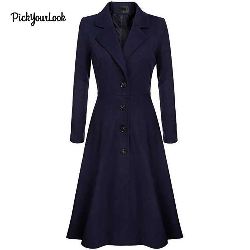 PickYourLook Long Coat   Trench   Spring Women Windbreaker A Line Slim Waist Classic   Trench   Coat manteau femme Coupe-vent moda mujer