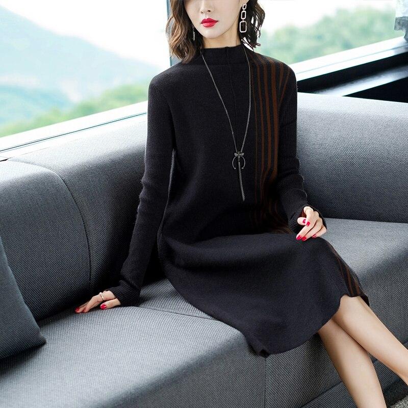 Tricoter Lady Tricot Robe Femmes Long grey Lâche Chandail La Plus Vêtements Manches À Stripe Laine Nouvelle Longues red Taille Casual Tricots Tenue Black HAgx7Fn0w