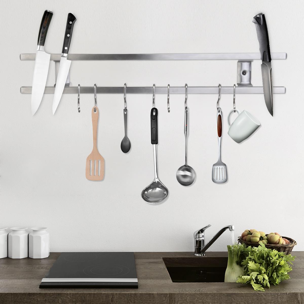 1 Pc Muur Gemonteerde Magnetische Mes Houder Dubbele Bar Mes Rack Voor Keukenmessen Gebruiksvoorwerpen 43*6*2.3 Cm 100% Garantie