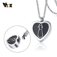 Vnox Cute Cat Openable Heart Pendant for Women Men Necklace Stainless Steel Urn Memorial Pet Cremation Ashes Keepsake Jewelry(China)