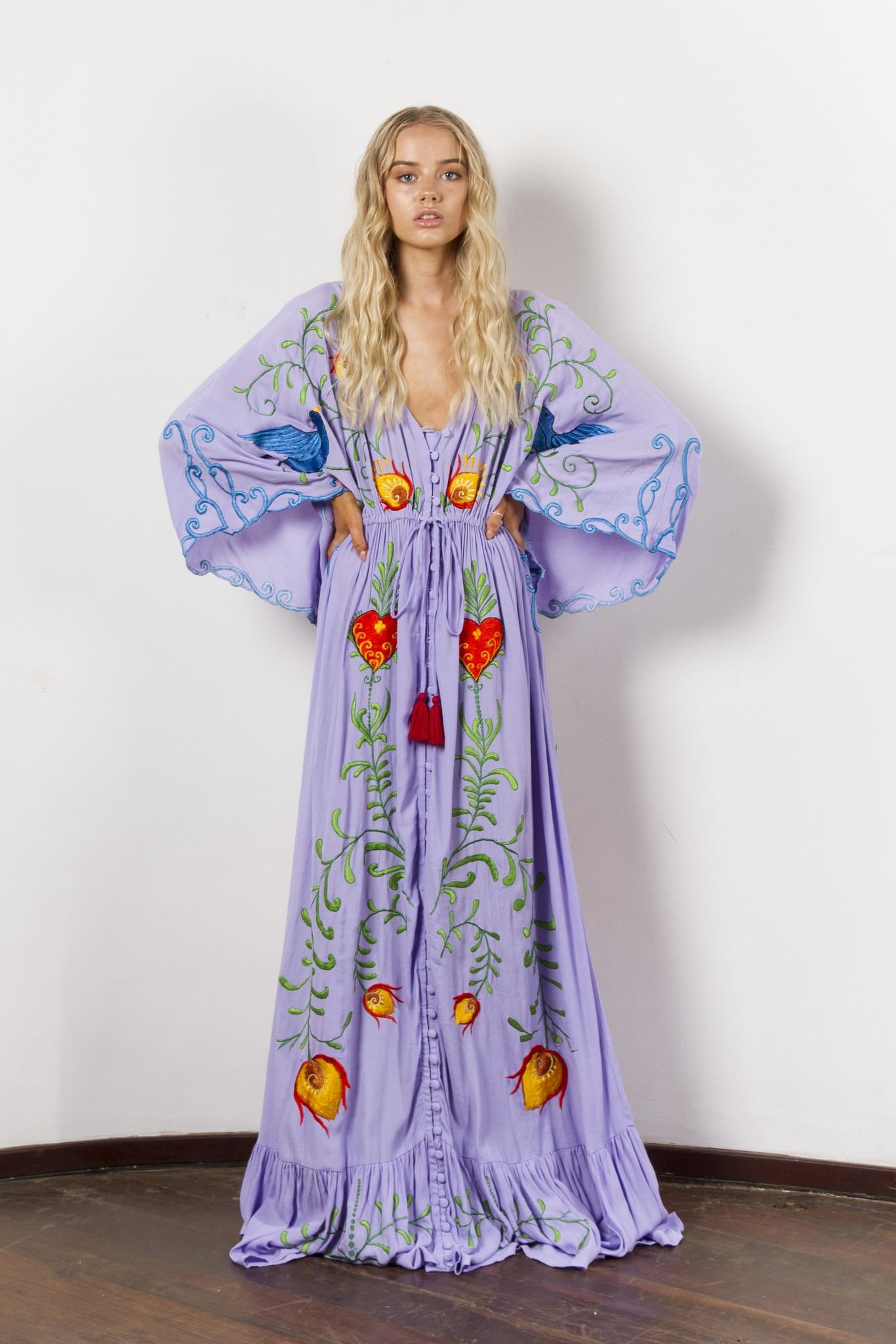 Broderie de fleurs de bohême décoration de gland évider retour sur la robe de déesse