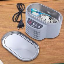 Limpiador ultrasónico de acero inoxidable, Unidad de lavado de ondas de ultrasonido Digital para gafas de joyería (con tapa de acero)