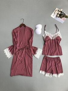 Image 5 - 2019 Women Pajamas Sets 3 Pieces Satin Sleepwear Pijama With Chest Pads Spaghetti Strap Lace Silk Sleep Lounge Nightwear Pyjama