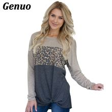 Genuo Hoodies Women Patchwork Pullovers Tops 2018 Fashion Leopard Print Jumper Sweatshirt Female Harajuku O-neck Shirt