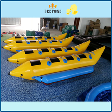 Double row 8 person seat PVC inflatable banana boat water drag game free distribution pump