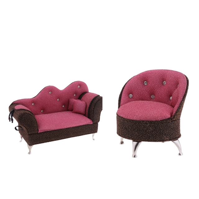 2pcs 1 6 Doll Furniture Long Sofa Chaise Single Chair Jewelry Box Accessories