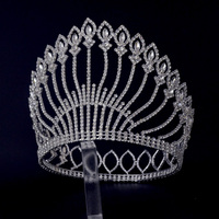 Large Tiaras Full Round Circle For Miss beauty Pageant Contest Crown Auatrian Rhinestone Crystal Hair Accessories For Women