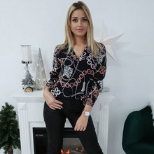 Hot Sale 2019 Fashion Womens Casual Long Sleeve Fashionable V neck Blouses Basic Floral Ladies Tops Style