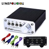 LINEPAUDIO 4 Input 4 Output 3.5mm Stereo Audio Signal Switch Headphone Switcher