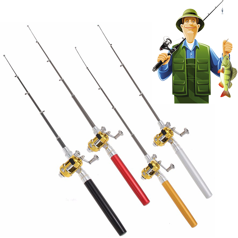 Outdoor Telescopic Mini Portable Pocket Fishing Pen Shape Pole Aluminum Alloy Fishing Rod Pole Reel Wheel 1PC Adjustable D35 in Fishing Rods from Sports Entertainment