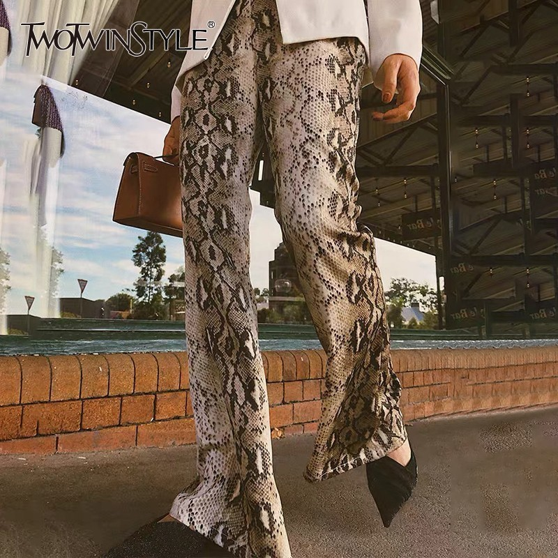 TWOTWINSTYLE Korean Fashion Snake Print Women Pants High Waist Large Size Long Trousers Female Streetwear Spring 2020 New Tide