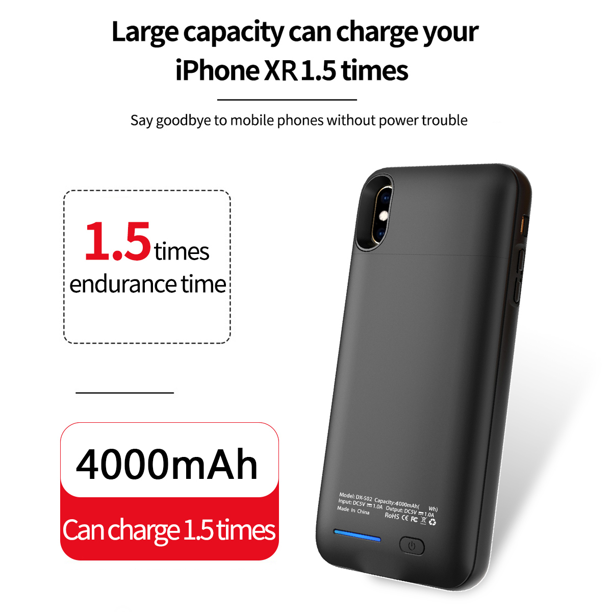 For iPhone Xr 4000mAh Battery Charger Phone Case Extended Battery Backup Power Bank Anti-fall Protective Phone Cover Back Case iPhone XR