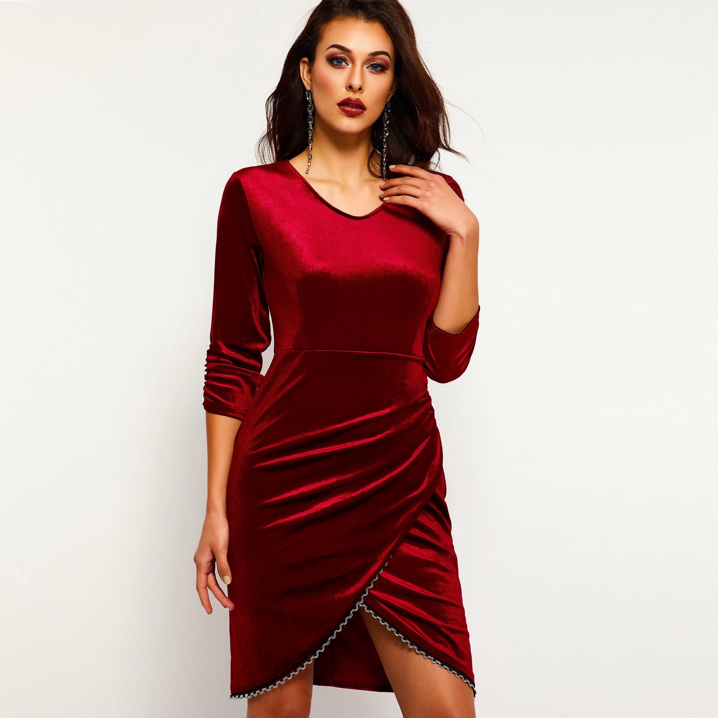 f46cd08fbabc Sexy Molli Chic Asimmetrico Di Vintage Casual Abiti Cross Signore Velluto  Donne Vestito Rosso A Elegante Pieghe ...