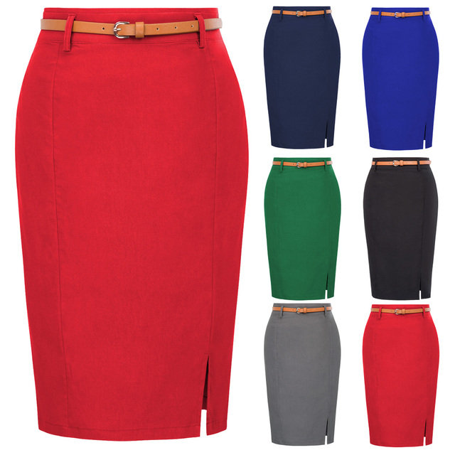 KK work wear pencil skirts Womens Solid Color split Belt sashes Decorated Hip wrap Bodycon Skirt sexy elegant  office skirts