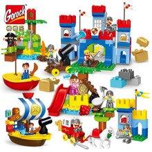 4 conjuntos duplo tamanho grande pirata barcos blocos de construção iluminar crianças brinquedos compatíveis com duplo diy iluminar tijolos cidade guerra série