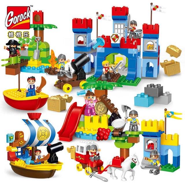 4 takım Duplo büyük boyutu korsan tekneler yapı taşları Enlighten çocuk oyuncakları ile uyumlu Duplo DIY Enlighten tuğla şehir savaş serisi