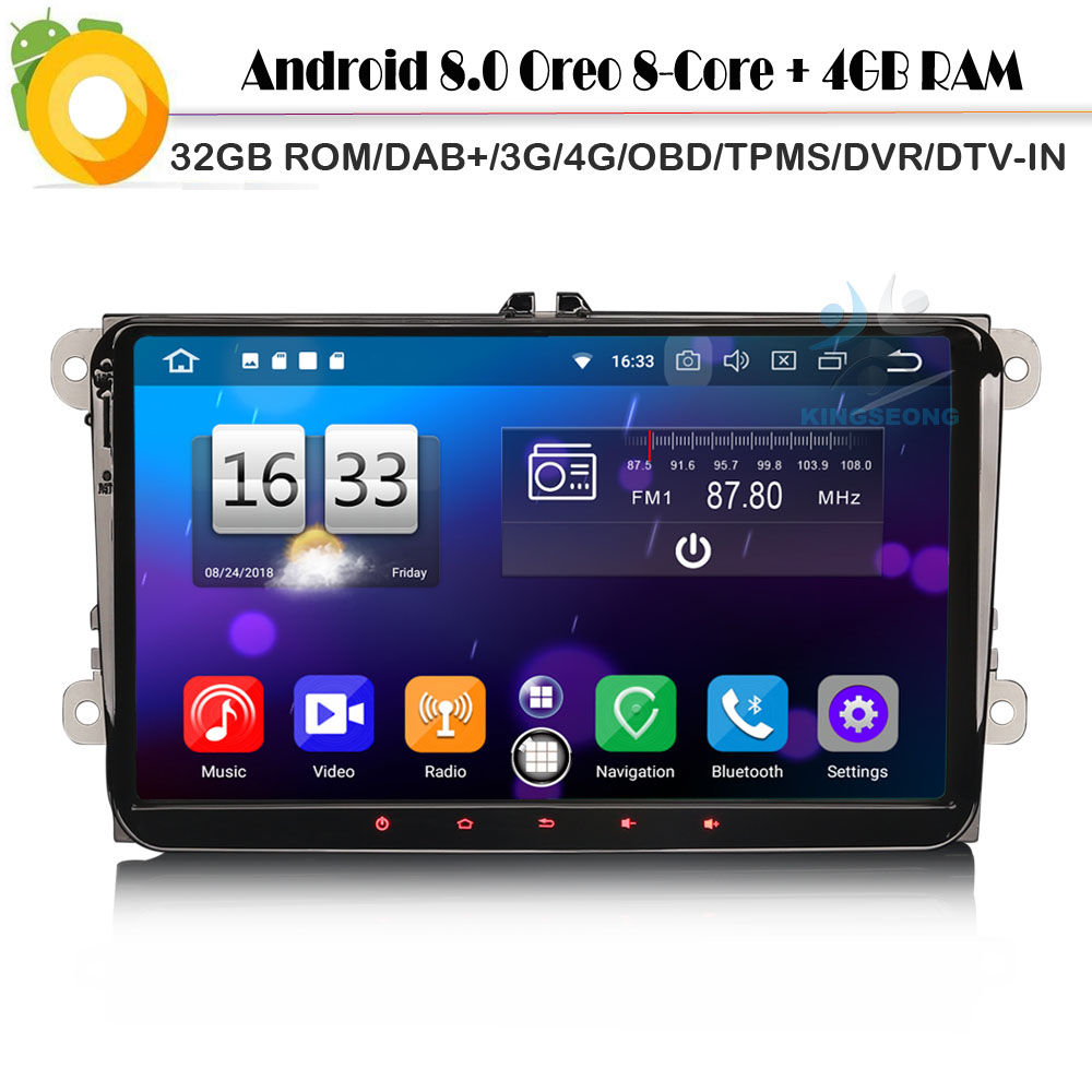 Восьмиядерный 9 Android 8,0 Авторадио DAB + стерео спутниковой навигации автомобиля радио плеер для VW PASSAT гольф 5, 6 поло Jetta Wi Fi 4G gps DVR BT