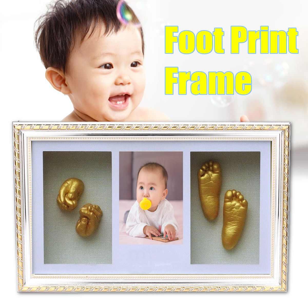 3D main pied coulée nouveau-né bébé empreinte Photo cadre costume sûr propre Non toxique propre main et pied tampon d'encre pour bébé cadeau