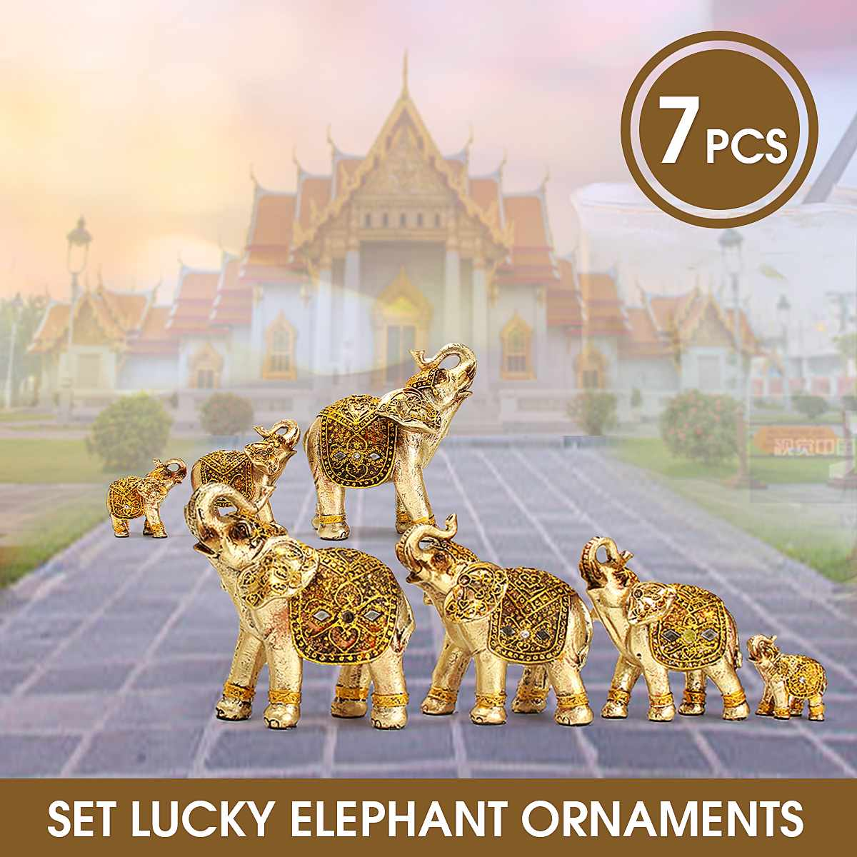 Mini Set Feng Shui Elegant Elephant Trunk Statue Lucky Wealth Figurine Crafts Ornaments Gift For Home Office Desktop Decoration