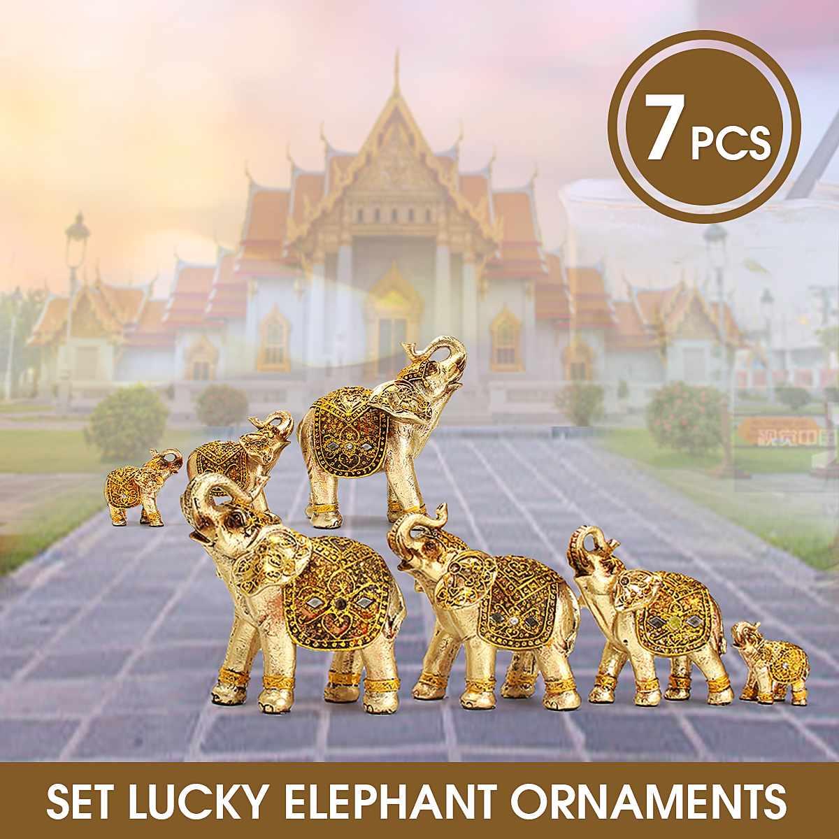Mini Set Feng Shui Elegant Elephant Trunk Statue Lucky Wealth Figurine Crafts Ornaments Gift for Home Office Desktop Decoration