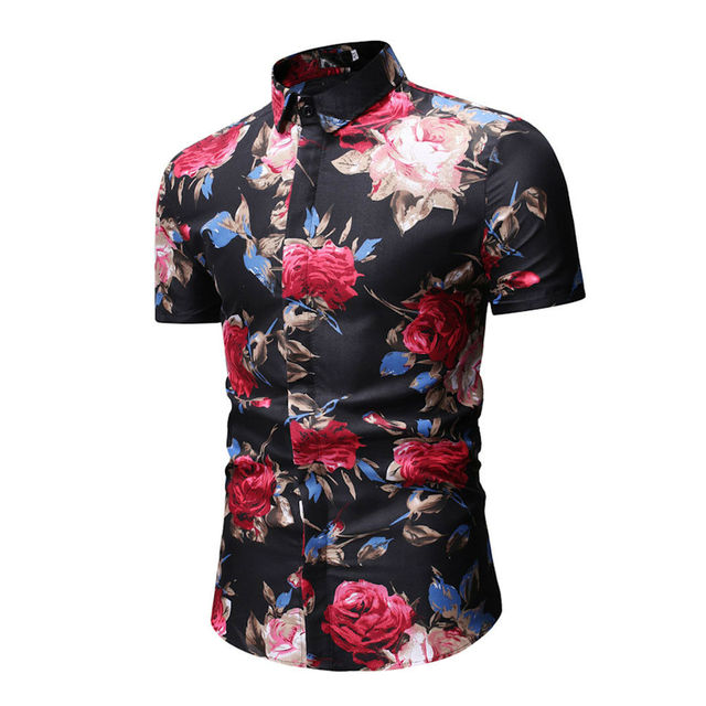 Men's Luxury Short Sleeve Shirt Floral Print