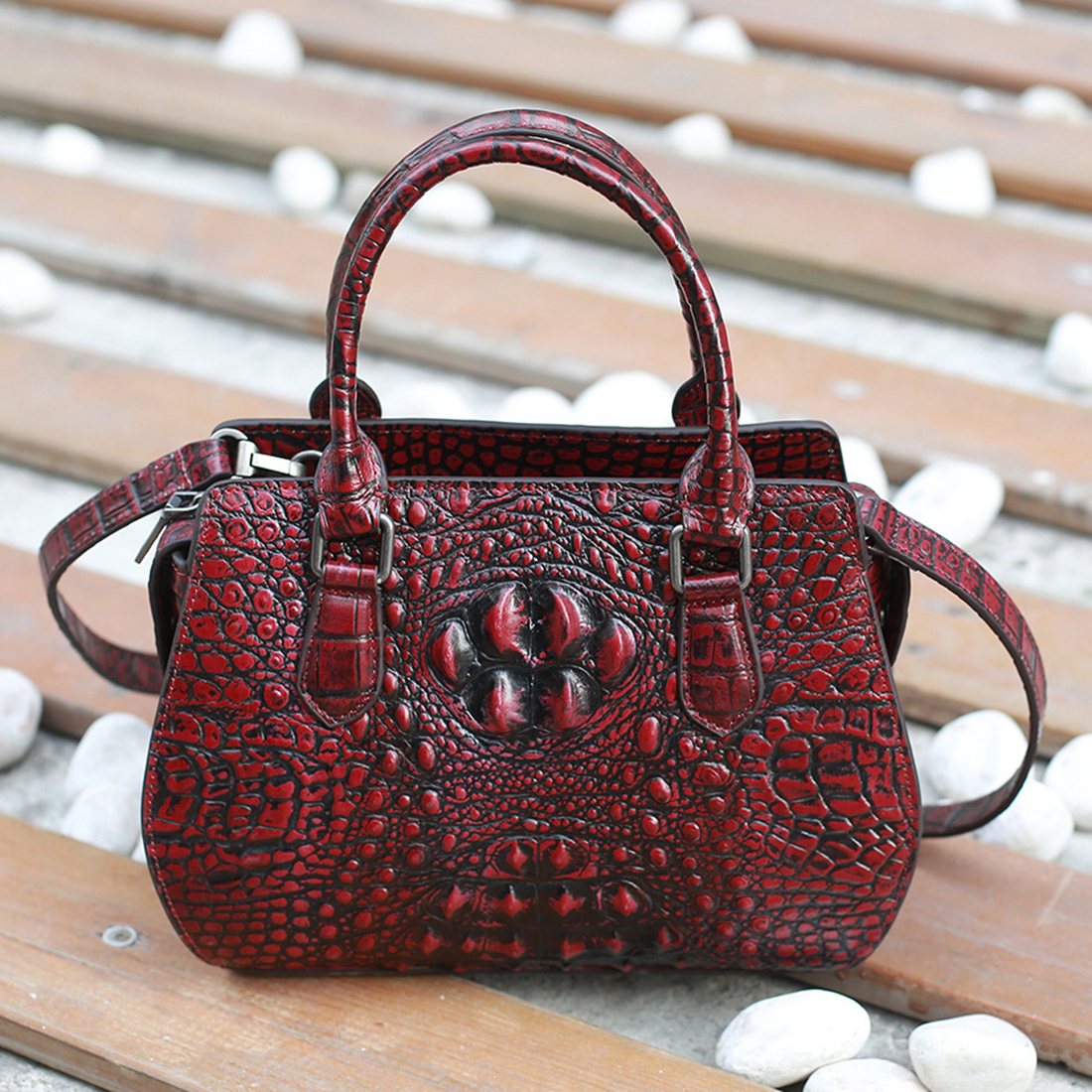 blue Vache Cuir red Top Flower Relief Poignée De tout Motif Messager Main Brown À Crocodile Véritable Rétro En Bandoulière Haute Fourre Femmes Peau coffee Sac Qualité Vraie EwqCSS