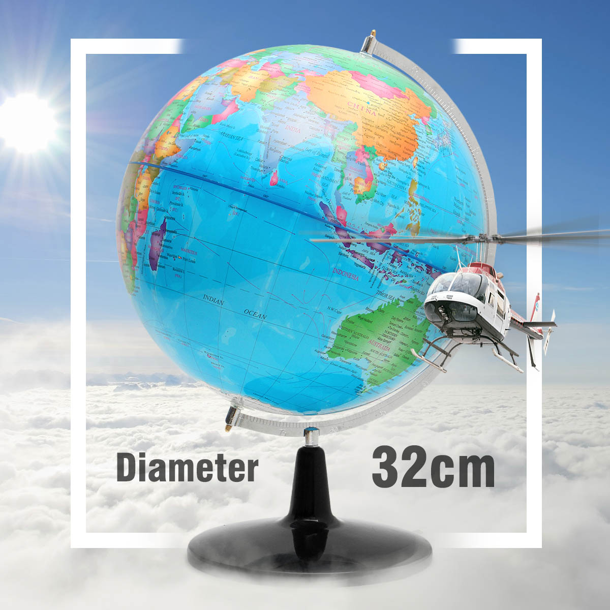 32CM Big Large Rotating Globe World Map of Earth Geography School Educational Tool Home Office Ornament Gift new led world map world globe rotating swivel map of earth geography globe figurines ornaments birthday gift home office decor
