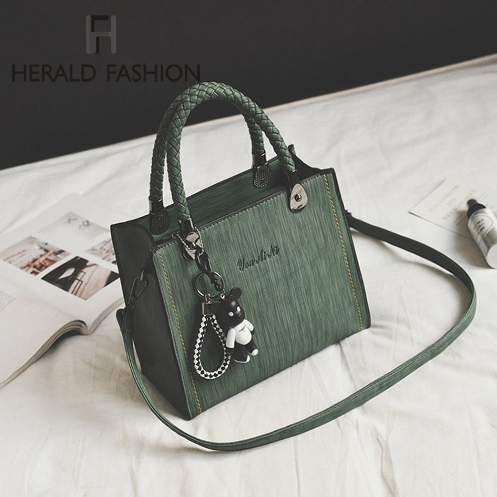 Herald Fashion Women Bag Vintage Handbag Casual Tote Flap Bags Quality Leather Shoulder Bags Ladies' Messenger Top-Handle Bags
