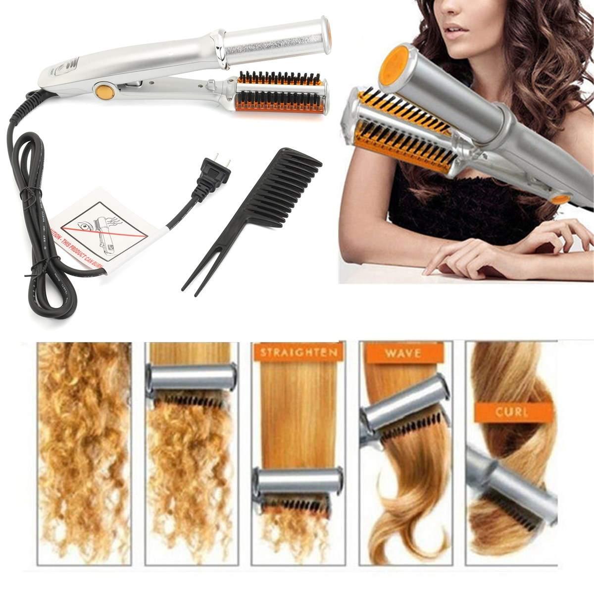 Digital Heating hair Brush Comb 2 in1 110-240V 29cm Pro Hair Straightener/Curling Ionic Styler Ceramic Hot Brush Flat