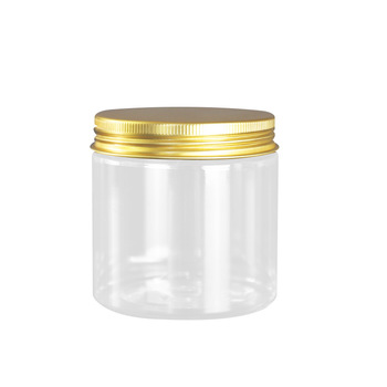 42pcs 200g Plastic Jar with Gold/White/Pink Aluminum cap PET Cream Container Clear PET Plastic Can Cosmetic Jar 200ml
