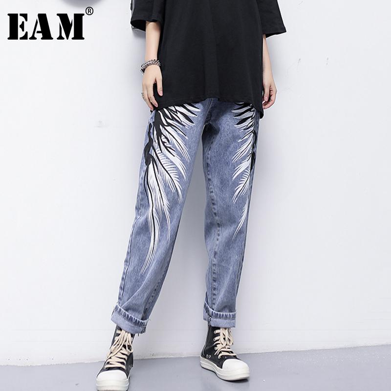[EAM] 2020 New Spring Summer High Waist Loose Blue Denim Holes Pattern Printed Wide Leg Jeans Women Trousers Fashion Tide JS056