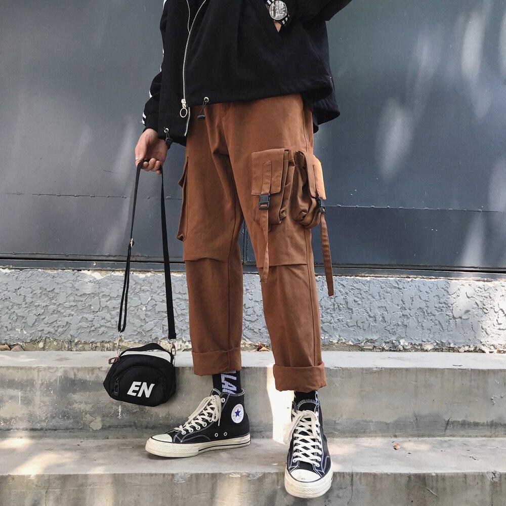 2018 Hiver Hommes de Coton Casual Harem Poche Cargo Pantalon de Haute Qualité Pantalon Hip Hop Style Noir/brun Joggeurs pantalons de survêtement