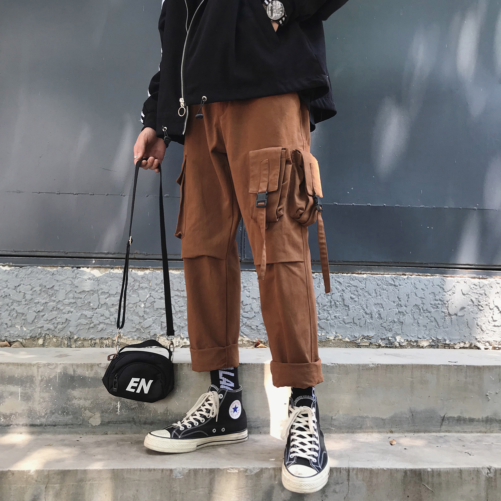 2019 Winter Men's Cotton Casual Harem Cargo Pocket Pants High Quality Trousers Hip Hop Style Black/brown Joggers Sweatpants