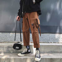 2019 Winter Men's Cotton Casual Harem Cargo Pocket Pants High Quality Trousers Hip Hop Style Black/brown Joggers Sweatpants