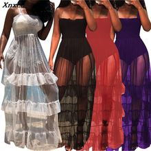 Sheer Mesh Maxi Dress Women Sleeveless See Through Black Slip Tiered Beach Sundresses Summer Sexy Club Party Dresses