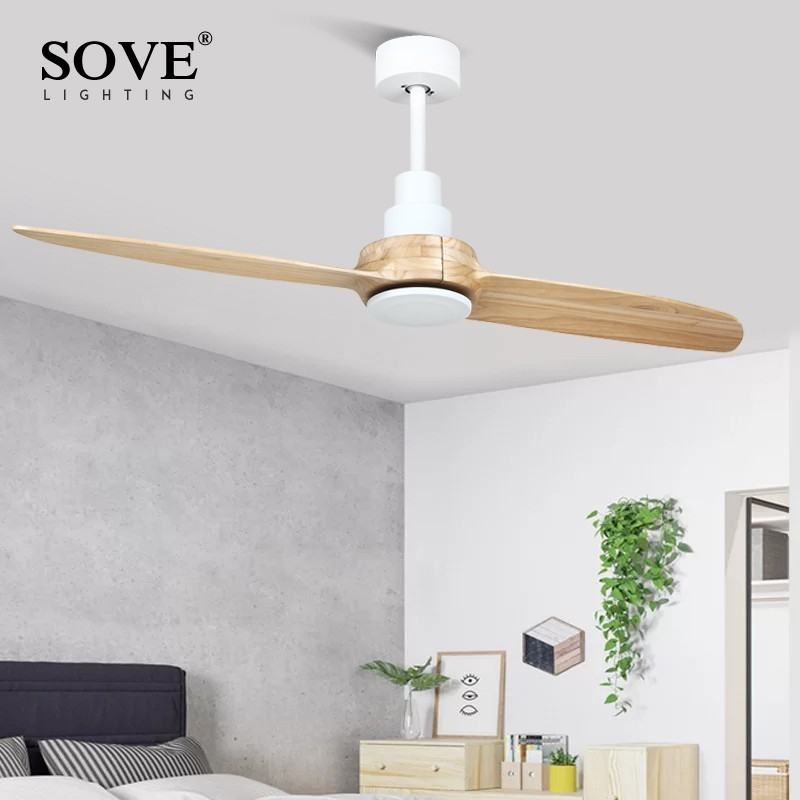 SOVE 52 inch Modern Wooden Ceiling Fan Without Light  Wood Ceiling Fans remote control nordic Decorative fan Ceiling 220v|Ceiling Fans| |  - title=