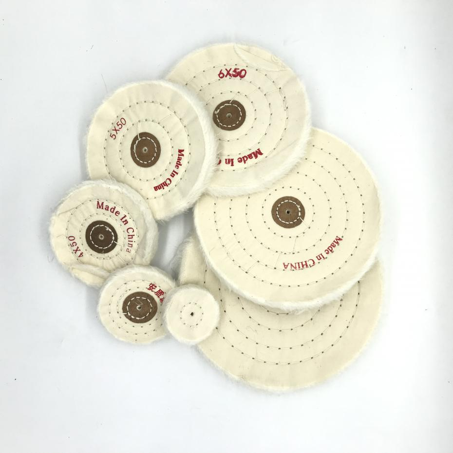 1pc 2inch To 8inch 7size  4 Inner Hole  50 Layers White Cotton Lint Cloth Buffing Wheel Gold Jewelry Polishing
