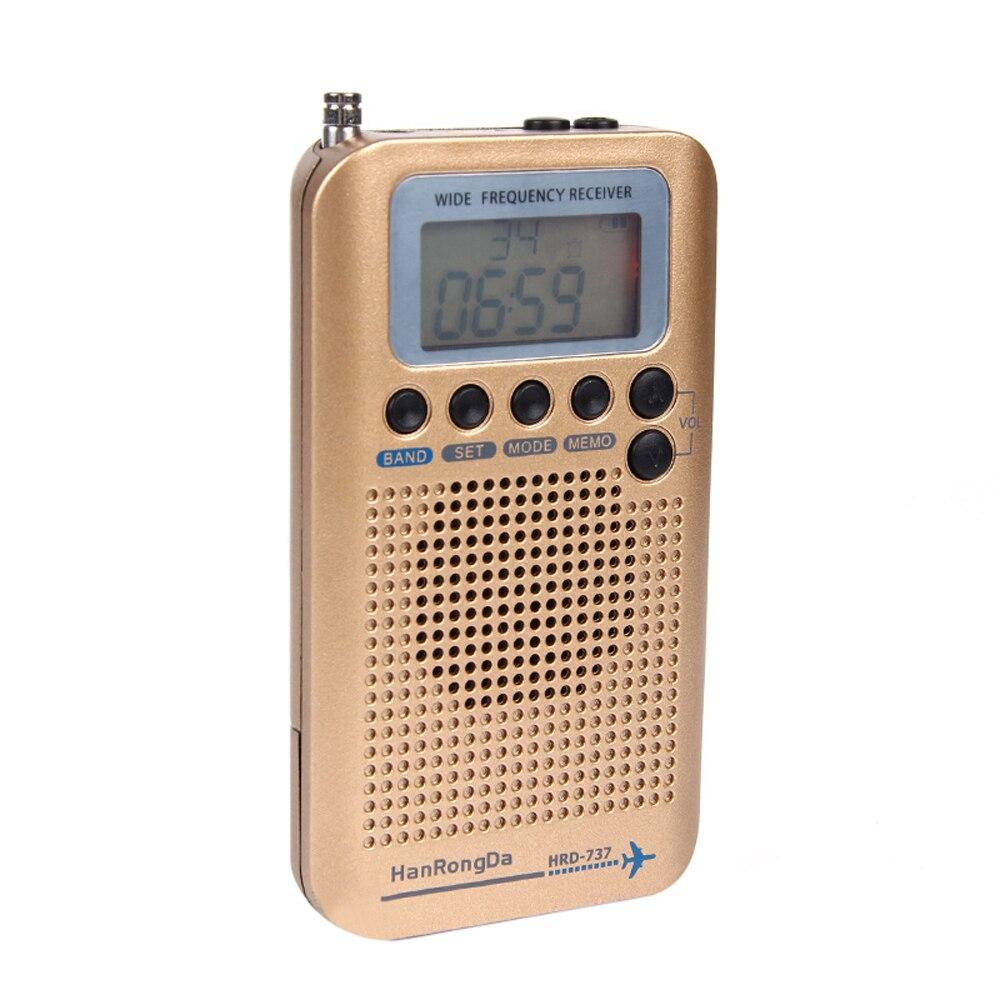 Vereinigt Hanrongda Tragbare Hrd-737 Volle Band Radio Aircraft Band Empfänger Fm/am/sw/cb/air/vhf Welt Band Mit Lcd Display Alarm Uhr Tragbares Audio & Video