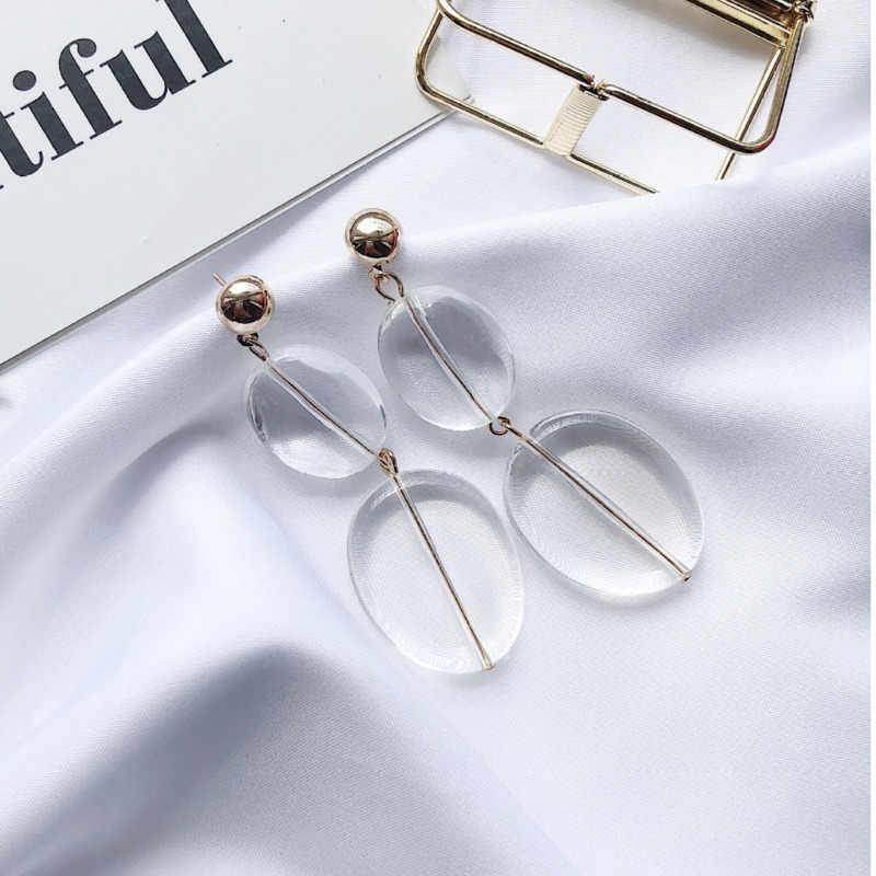 Fashion Ins Korea Concise Temperament Exaggeration Circle Irregular Geometry Acrylic Big Long Drop Earrings For Women Jewelry