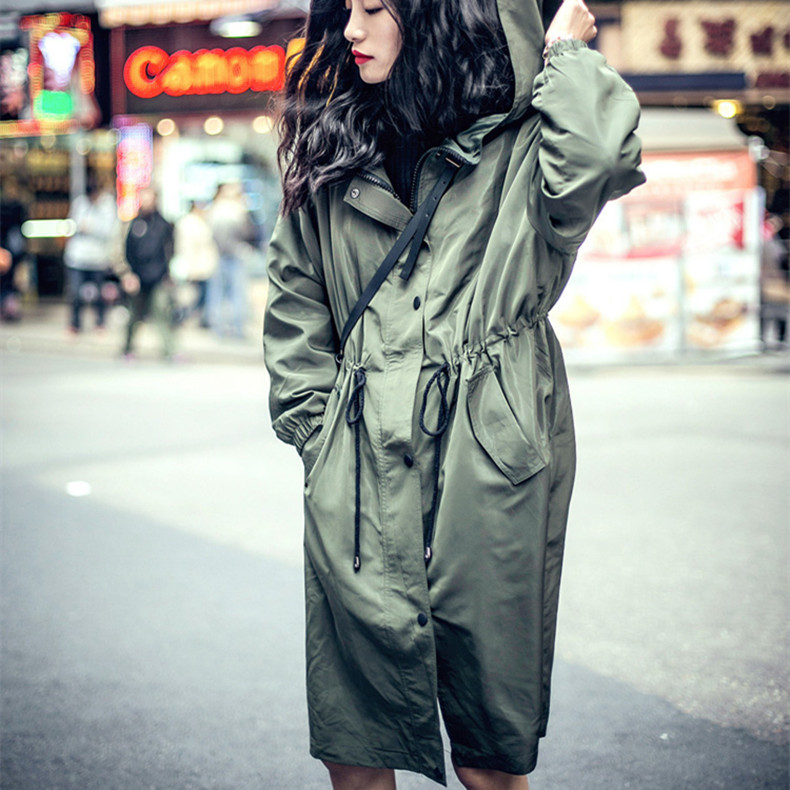 LYFZOUS New Army Green Hooded Trench Coat For Women Tie Waist Single Breasted Trench Female Autumn Classic Overcoat With Bowknot