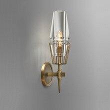 Медный чердак в скандинавском стиле, американская индустрия, ретро искусство, стекло, простая личность, проходной, для спальни, машинная головка, настенная лампа, Archaize