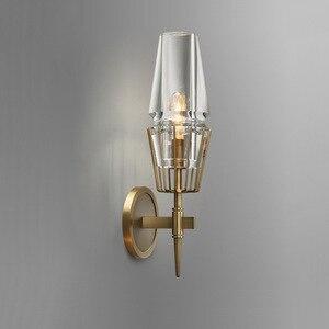 Cobre Loft Estilo nórdico industria americana arte Retro vidrio Simple personalidad pasillo dormitorio máquina cabeza lámpara de pared Archaize