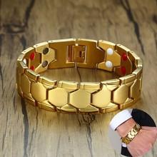 18mm 4 elementy Bio terapia bransoletka energetyczna dla mężczyzn galwanizacja złota biżuteria męska ze stali nierdzewnej tanie tanio mprainbow Hologram bransoletki Mężczyźni STAINLESS STEEL CN (pochodzenie) Moda TRENDY Metal Other Wszystko kompatybilny